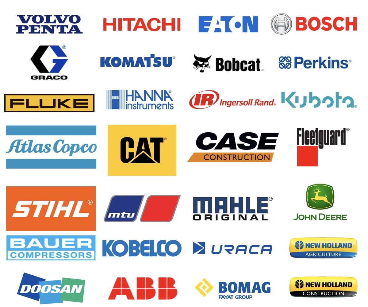 Importación de Repuestos, Maquinaria y Componentes - Estas son algunas de las marcas que importamos